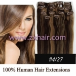"20"" 10pcs set 90g Clip-in hair Human Hair Extensions #4/27"