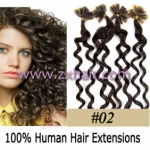 "100S 20"" Nail tip hair remy culry Human Hair Extensions #02"