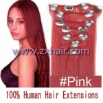 "15"" 7pcs set Clip-in hair remy Human Hair Extensions #pink"