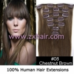 "22"" 7pcs set Clips-in hair 80g remy Human Hair Extensions #08"