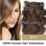 "20"" 7pcs set wave Clip-in hair Human Hair Extensions #4/27"