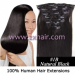 "15"" 7pcs set Clip-in hair remy Human Hair Extensions #1B"