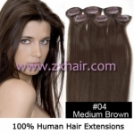 "20"" 6pcs set Clips-in hair remy Human Hair Extensions #04"