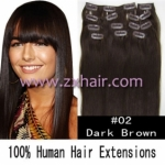 "20"" 10pcs set 90g Clip-in hair Human Hair Extensions #02"