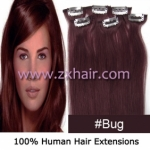"20"" 6pcs set Clips-in hair remy Human Hair Extensions #bug"