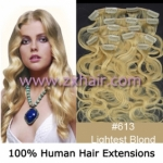 "20"" 7pcs set wave Clip-in hair Human Hair Extensions #613"