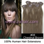 "20"" 6pcs set Clips-in hair remy Human Hair Extensions #08"