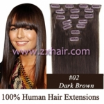 "18"" 7pcs set Clips-in hair 70g remy Human Hair Extensions #02"