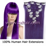 "22"" 7pcs set Clips-in hair 80g remy Human Hair Extensions #lila"