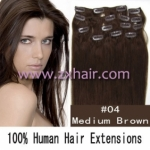 "20"" 10pcs set 90g Clip-in hair Human Hair Extensions #04"