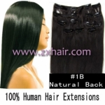 "20"" 10pcs set 90g Clip-in hair Human Hair Extensions #1B"