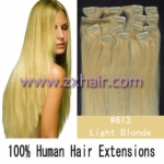 "20"" 10pcs set 90g Clip-in hair Human Hair Extensions #613"