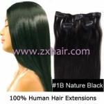 "20"" 3pcs set 36g Clip-in hair Human Hair Extensions #1B"
