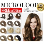 "100S 16""-22"" Micro rings/loop hair 1g/s human hair extensions 28 Colors Double Beads"