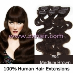 "20"" 6pcs set wave Clips-in hair Human Hair Extensions #04"