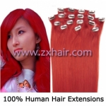 "20"" 8pcs set Clip-in hair remy Human Hair Extensions #red"