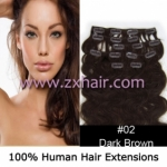 "20"" 7pcs set wave Clip-in hair Human Hair Extensions #02"