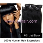 "18"" 7pcs set Clips-in hair 70g remy Human Hair Extensions #01"