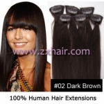 "20"" 6pcs set Clips-in hair remy Human Hair Extensions #02"
