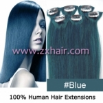 "20"" 6pcs set Clips-in hair remy Human Hair Extensions #blue"