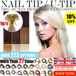 UK Stock 28 Colors Double Drawn 100S 1G Pre Bonded Nail U Tip Remy Human Hair Extensions 1 GRAM