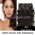 "20"" 8pcs set wave Clip-in hair Human Hair Extensions #02"