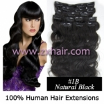 "20"" 8pcs set wave Clip-in hair Human Hair Extensions #1B"