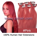 "20"" 6pcs set Clips-in hair remy Human Hair Extensions #pink"
