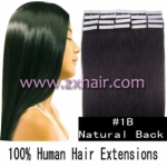 "20"" 50g Tape Human Hair Extensions #1B"