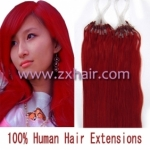 "100S 16"" Micro rings/loop hair remy human hair extensions #red"