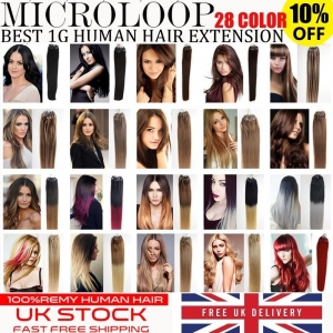 UK Stock 28 Colors Double Drawn 50S 1G Micro Loop Ring Human Hair Extensions