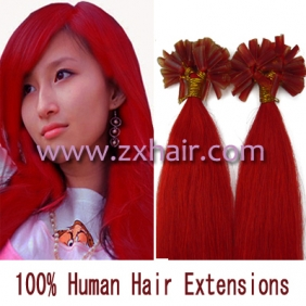 "100S 18"" Nail tip hair remy Human Hair Extensions #red"
