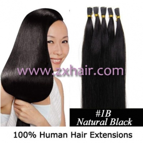 "100S 18"" Stick tip hair remy 0.5g/s human hair extensions #1B"