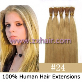 "100S 18"" Stick tip hair remy 0.5g/s human hair extensions #24"