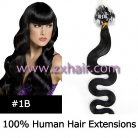 "100S 20"" remy Micro rings hair Wave human hair extensions #1B"