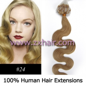 "100S 20"" remy Micro rings hair Wave human hair extensions #24"