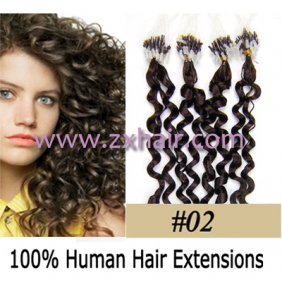 "100S 20"" remy Micro rings hair Curly human hair extensions #02"