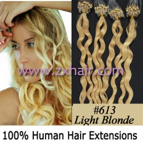 "100S 20"" remy Micro rings hair Curly human hair extensions #613"