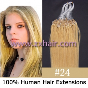 "100S 22"" Micro rings/loop remy hair human hair extensions #24"