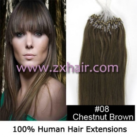 "100S 18"" Micro rings/loop hair remy human hair extensions #08"