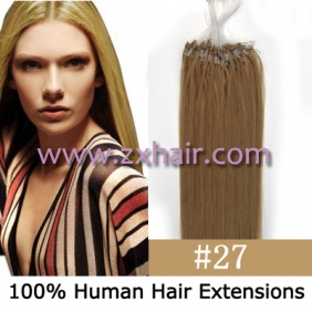 "100S 20"" Micro rings/loop hair remy human hair extensions #27"