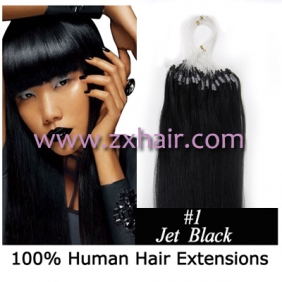 "100S 24"" Micro rings/loop hair remy human hair extensions #01"