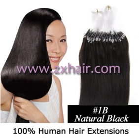 "100S 24"" Micro rings/loop hair remy human hair extensions #1B"