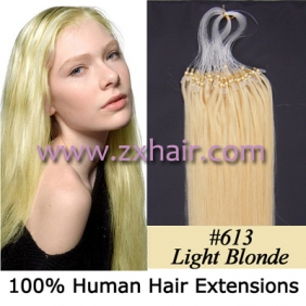 "100S 24"" Micro rings/loop hair remy human hair extensions #613"