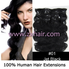 "20"" 8pcs set wave Clip-in hair Human Hair Extensions #01"
