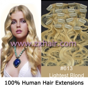 "20"" 8pcs set wave Clip-in hair Human Hair Extensions #613"