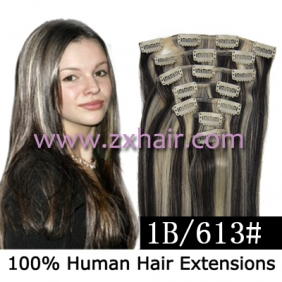 "15"" 7pcs set Clip-in hair remy Human Hair Extensions #1B/613"