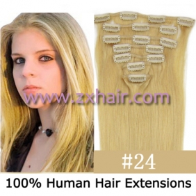 "15"" 7pcs set Clip-in hair remy Human Hair Extensions #24"