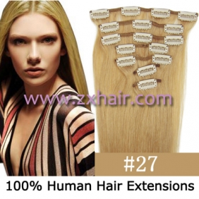 "15"" 7pcs set Clip-in hair remy Human Hair Extensions #27"