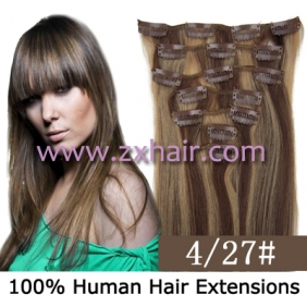 "15"" 7pcs set Clip-in hair remy Human Hair Extensions #4/27"